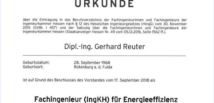 Dipl.-Ing. Gerhard Reuter als Fachingenieur für Energieeffizienz anerkannt